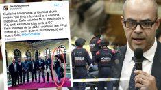 El consejero Mique Buch junto al tuit de los mossos separatistas
