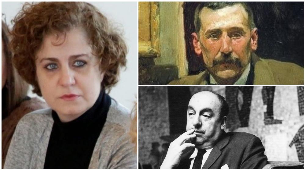 La edil Esther Gómez Morante, Benito P. Galdós (arriba) y Pablo Neruda (abajo).