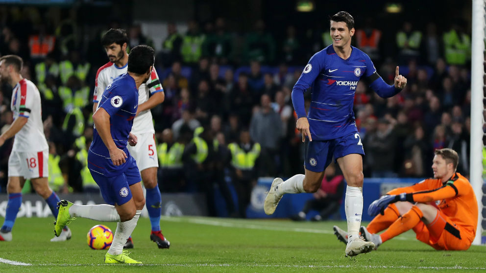 Morata celebra un gol con el Chelsea. (Getty)