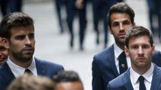 Piqué, Cesc y Messi, en una foto de archivo (AFP).