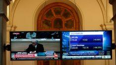 Interrogatorio a Rodrigo Rato en las pantallas de la bolsa de Madrid