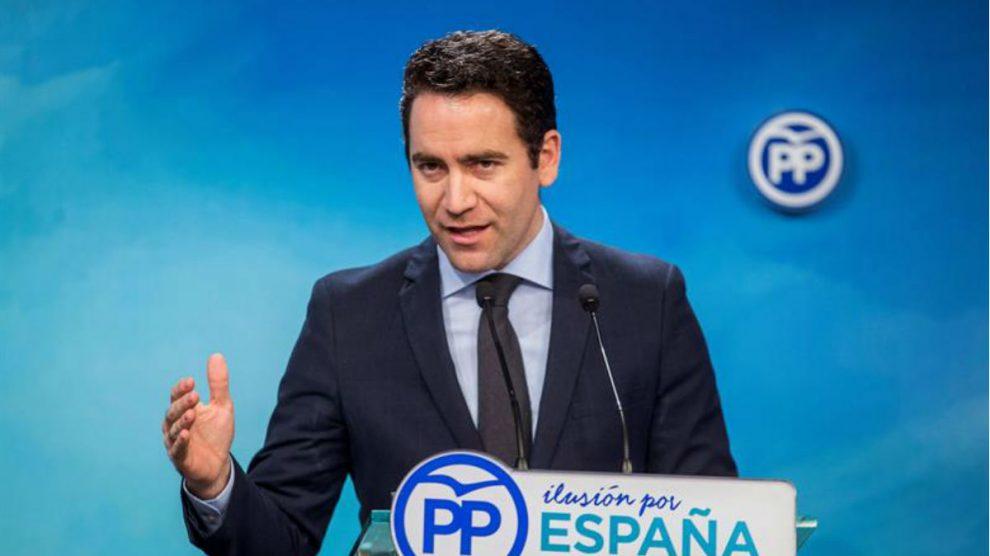Teo García Egea en rueda de prensa esta mañana (EFE).