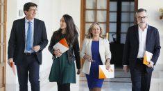 La delegación política de Ciudadanos, encabezada por su líder regional, Juan Marín