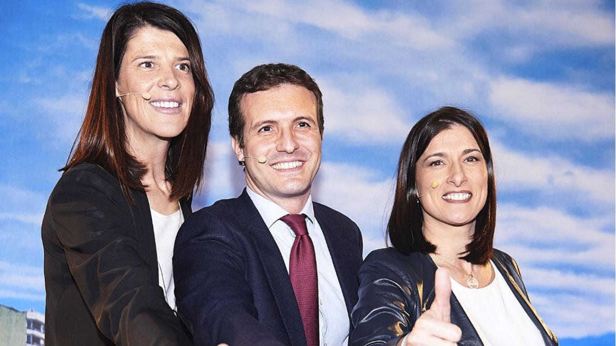 Pablo Casado en un acto en Santander para presentar a Gema Igual y Ruth Beitia como candidatas a la Alcaldía y a la comunidad de Cantabria. (EP).
