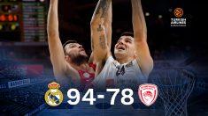 El Real Madrid venció al Olympiacos en Euroliga (94-78).