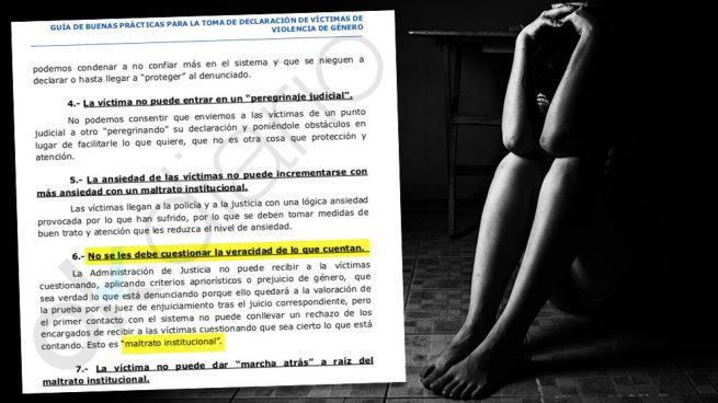 Una guía de género para jueces califica de «maltrato institucional» cuestionar la versión de la mujer