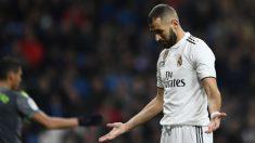Benzema, en el partido ante la Real Sociedad. (AFP)