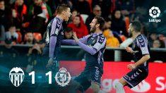 Valencia y Valladolid empataron en Mestalla.