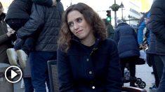 Isabel Díaz Ayuso, candidata del PP a la Comunidad de Madrid, durante la entrevista con OKDIARIO
