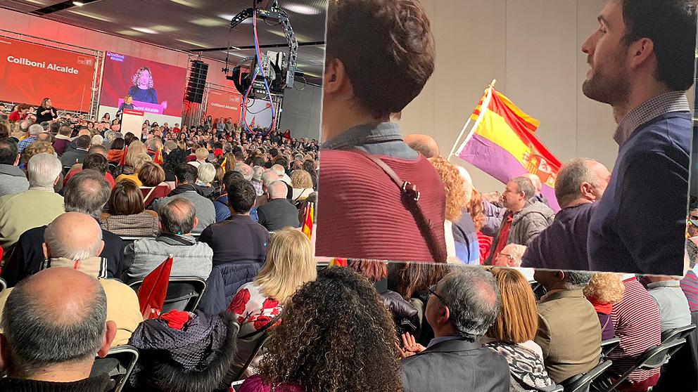 Asistentes al mitin de Barcelona acuden con una bandera republicana.