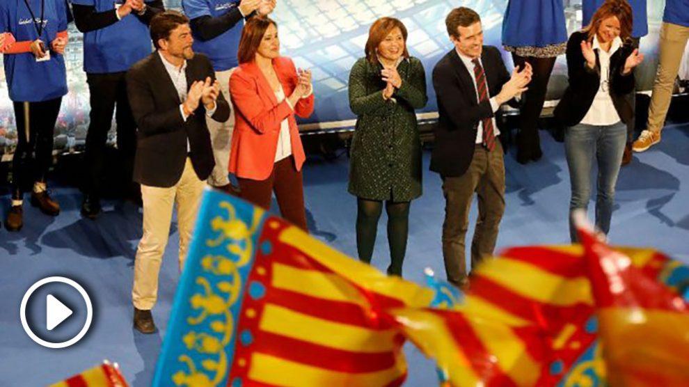 Casado, Bonig y otros candidatos del PP este sábado en Valencia (Foto: EFE).