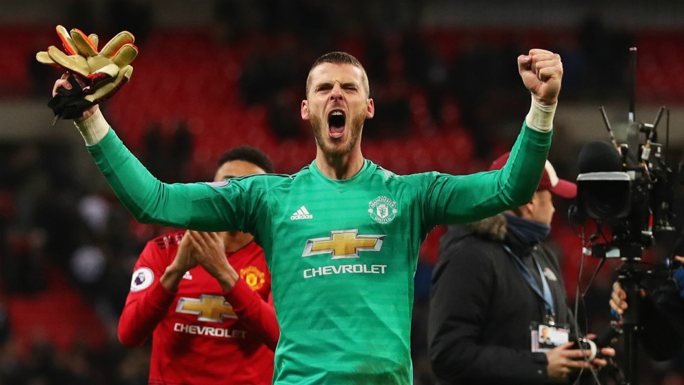 De Gea celebra una victoria con el Manchester United. (Getty)