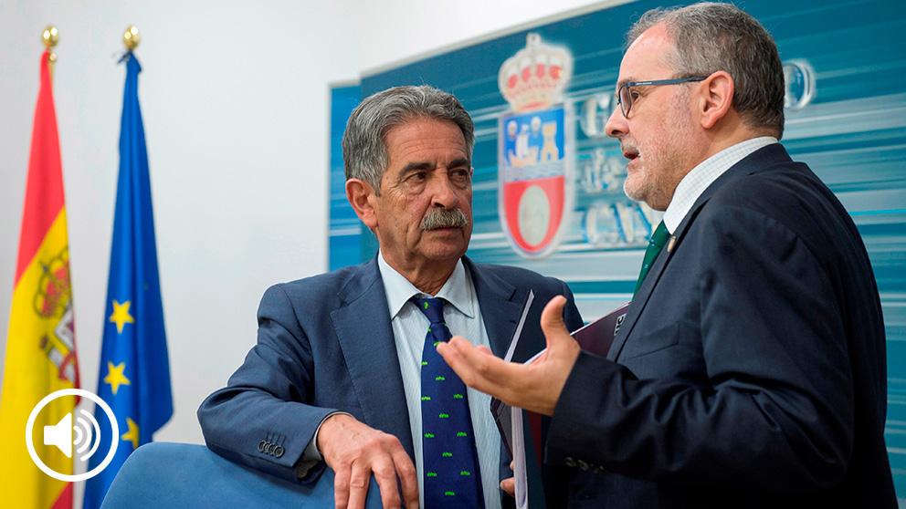 El rector de la Universidad de Cantabria, Ángel Pazos, junto a Miguel Ángel Revilla
