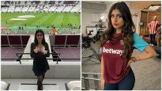 Mia Khalifa portando los colores del West Ham. (@miakhalifa)