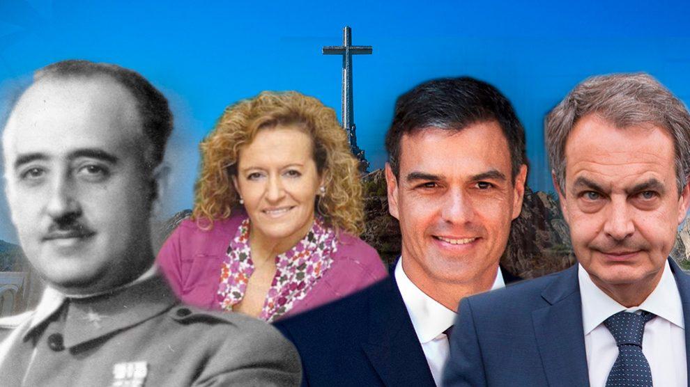Francisco Franco, María Isabel Durántez, Pedro Sánchez y José Luis Rodríguez Zapatero.