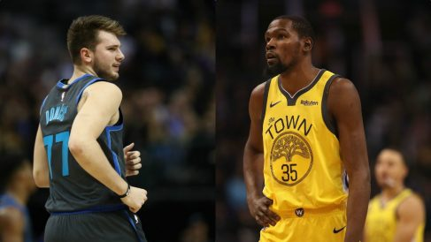 Luka Doncic y Kevin Durant. (Getty)