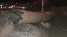 El monumento de la época franquista en Ondarroa (Vizcaya) derribado por desconocidos. Foto: Europa Press
