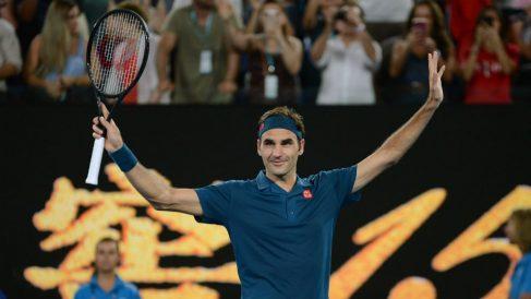 Federer, en su debut en el Open de Australia 2019. (Getty)