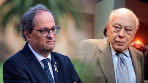 El presidente de la Generalitat, Quim Torra, y el ex presidente Jordi Pujol