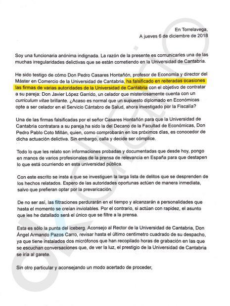 Una funcionaria de la Universidad de Cantabria confirma que el socialista Casares falsificó varias firmas