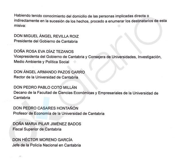 Destinatarios de la carta de la funcionaria anónima de la Universidad de Cantabria