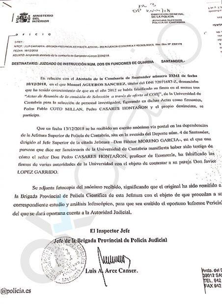 Escrito del Jefe de la Brigada Provincial de la Policía Judicial
