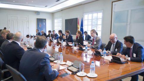 Los ejecutivos y empresarios que se han reunido con Pedro Sánchez este martes.