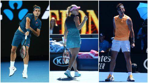 Federer, Kerber y Nadal en acción en el Open de Australia. (Getty)