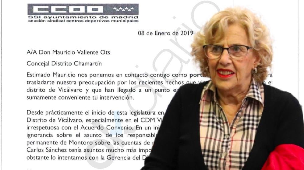 Manuela Carmena y el comunicado de CCOO a Mauricio Valiente. (Foto. Madrid)