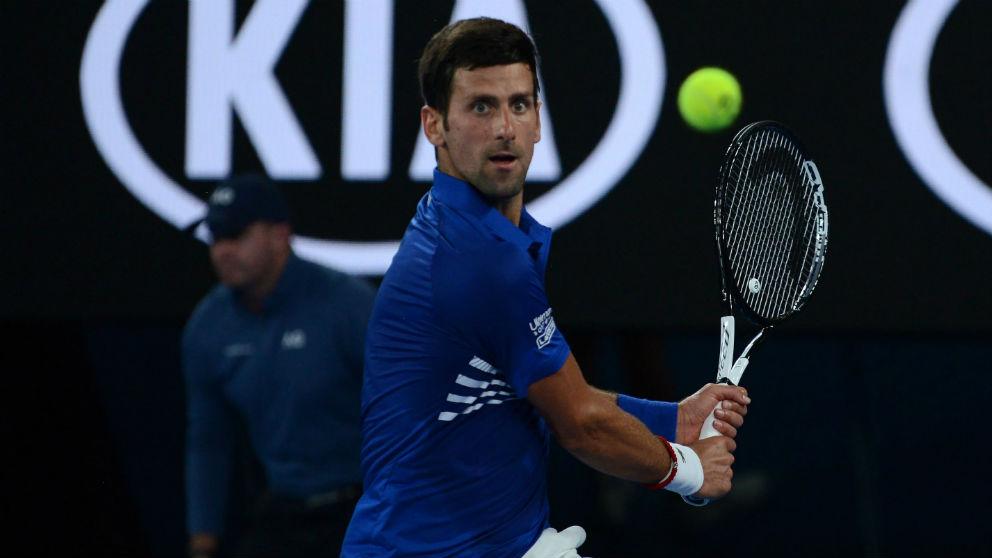 Novak Djokovic, en su debut en el Open de Australia 2019.