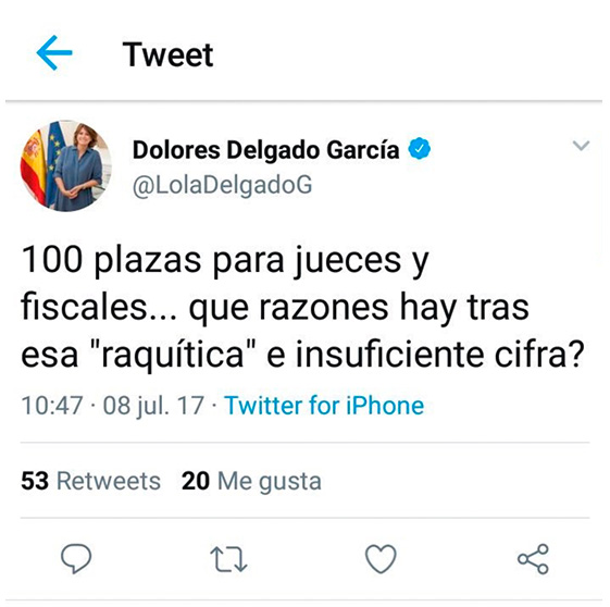 Los jueces estallan contra Delgado: sólo habrá 100 plazas nuevas en 2019