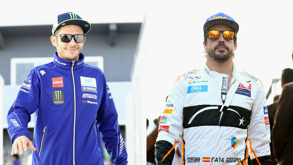 Valentino Rossi y Fernando Alonso. (Getty)