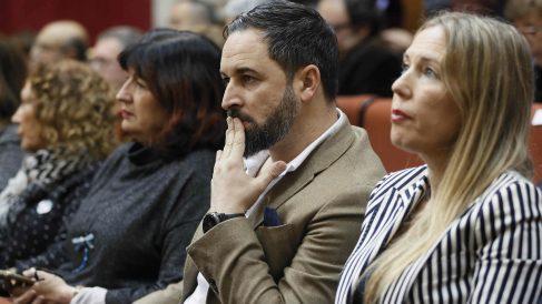Santiago Abascal, líder de vox en el Parlamento andaluz. EFE/José Manuel Vidal.