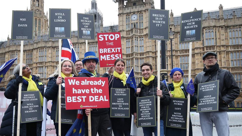 Varios británicos protestan frente al Palacio de Westminster por el Brexit. Foto: Europa Press