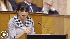 La dirigente de Adelante Andalucía,Teresa Rodríguez, en el debate de investidura.