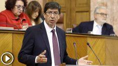 El líder de Ciudadanos en Andalucia, Juan Marín,en el debate de investidura de Juanma Moreno (PP-A) como presidente de la Junta.