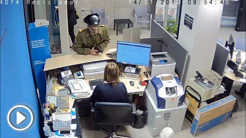 La sucursal bancaria de Badajoz atracada por un hombre disfrazado de Guardia Civil. Foto: Twitter