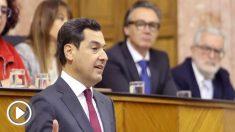 Juan Manuel Moreno durante el debate sobre su investidura como presidente de Andalucía.