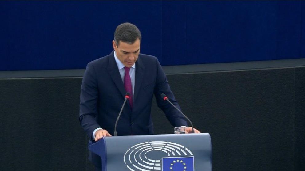 Pedro Sánchez en el Parlamento Europeo.