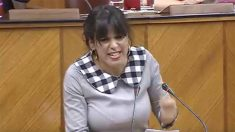 Teresa Rodríguez en el Parlamento de Andalucía.