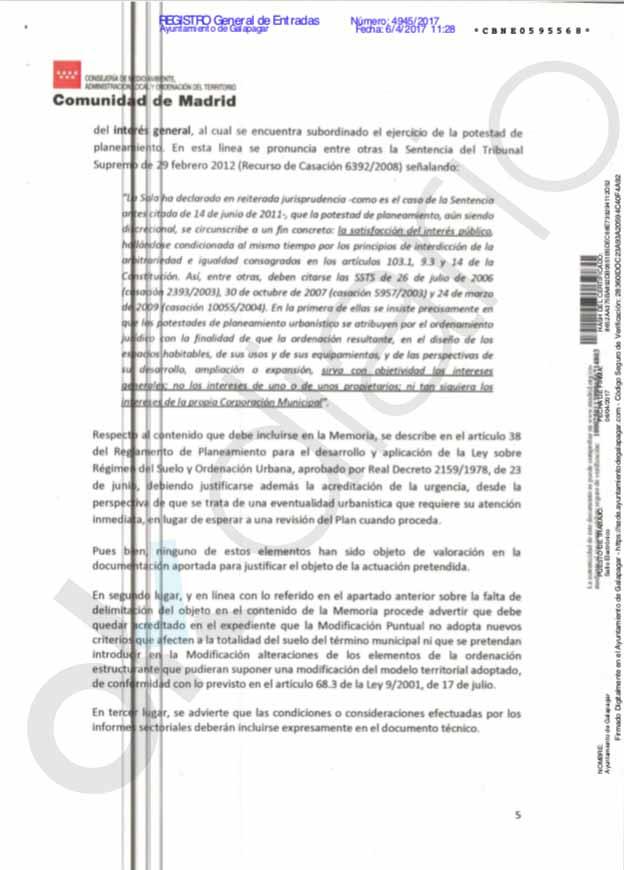 El equipo jurídico de Madrid censura a Galapagar por no justificar los cambios