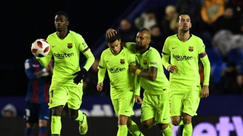 Los jugadores del Barcelona celebran un gol. (Getty)
