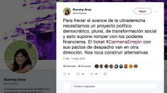 Tuit de la concejal de Ahora Madrid Rommy Arce.
