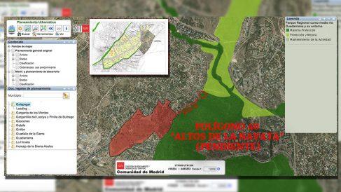 La futura urbanización de Los Altos de La Navata, criticada por IU, está a sólo 500 metros de la parcela de Iglesias.