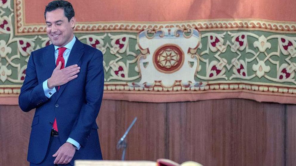Juanma Moreno durante la toma de posesión de su cargo como Presidente de la Junta de Andalucía. Foto: EFE