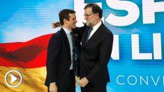 Pablo Casado y Mariano Rajoy en la Convención Nacional del PP