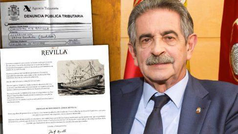 El presidente del Gobierno de Cantabria, Miguel Ángel Revilla, ante un fragmento de la denuncia y la web de la firma de anchoas que patrocina.