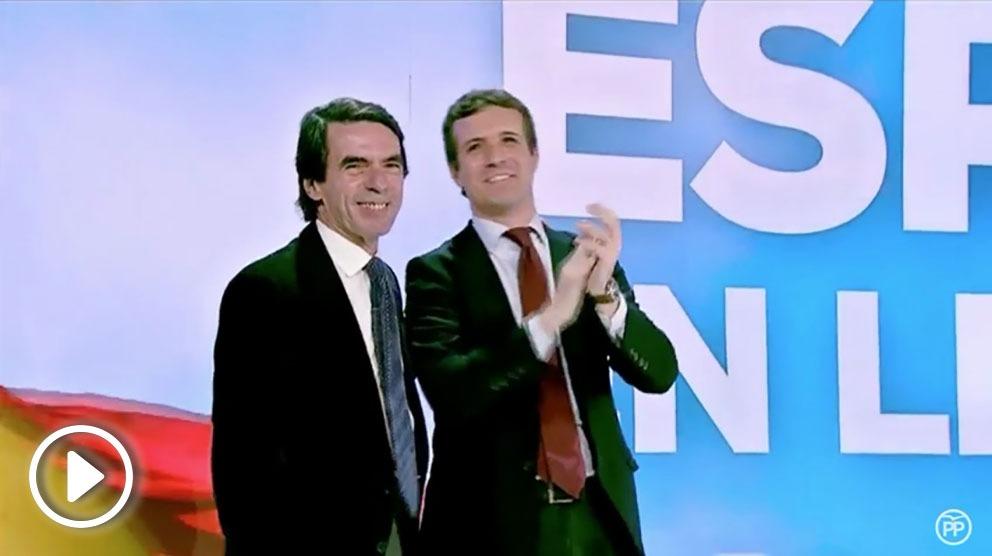 José María Aznar, con Pablo Casado, en la Convención Nacional del PP.