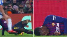 Dembélé sufrió una lesión de tobillo.