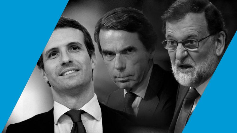 Pablo Casado, José María Aznar y Mariano Rajoy.